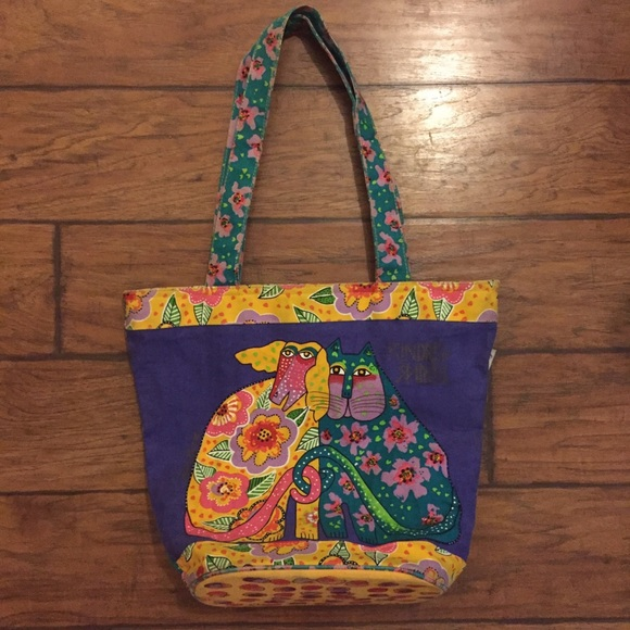 626c6ffa160f Laurel Burch Handbags - Laurel Burch Artsy Americana dog cat tote bag